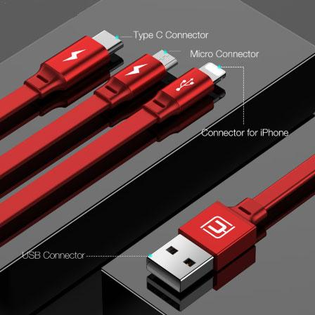3in1  USB Cable Charger Cable 3A Fast Charging