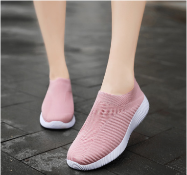 Women Sneakers Knitted Vulcanized  Casual Slip On Flat  Soft Walking Footwear