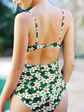Green One-Piece Swimsuit V-neck Floral Print Open Back