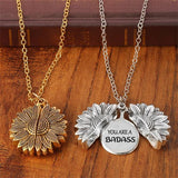 You are a Badass Sunflower Necklace