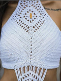 White Halter Tassel Trim Open Back Tank