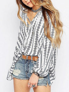 White Women Blouse Stripe Cotton V-neck Tie Front Long Sleeve Chic
