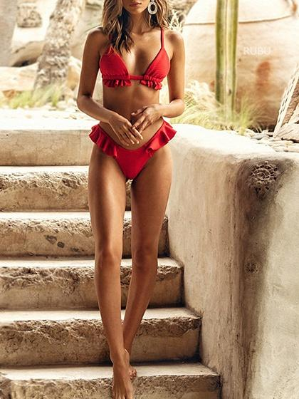Red Bikini Set Ruffle Trim
