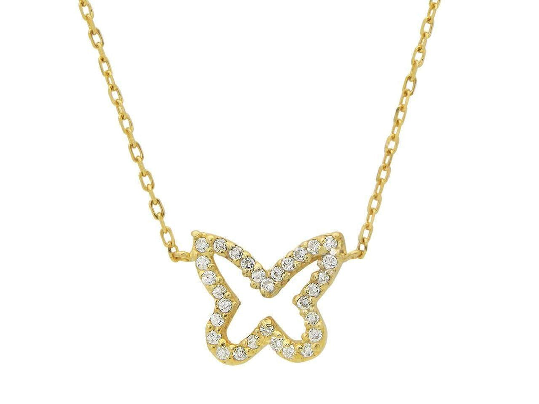 Golden Sparkling Open Butterfly Necklace - B&P'sringsnthings