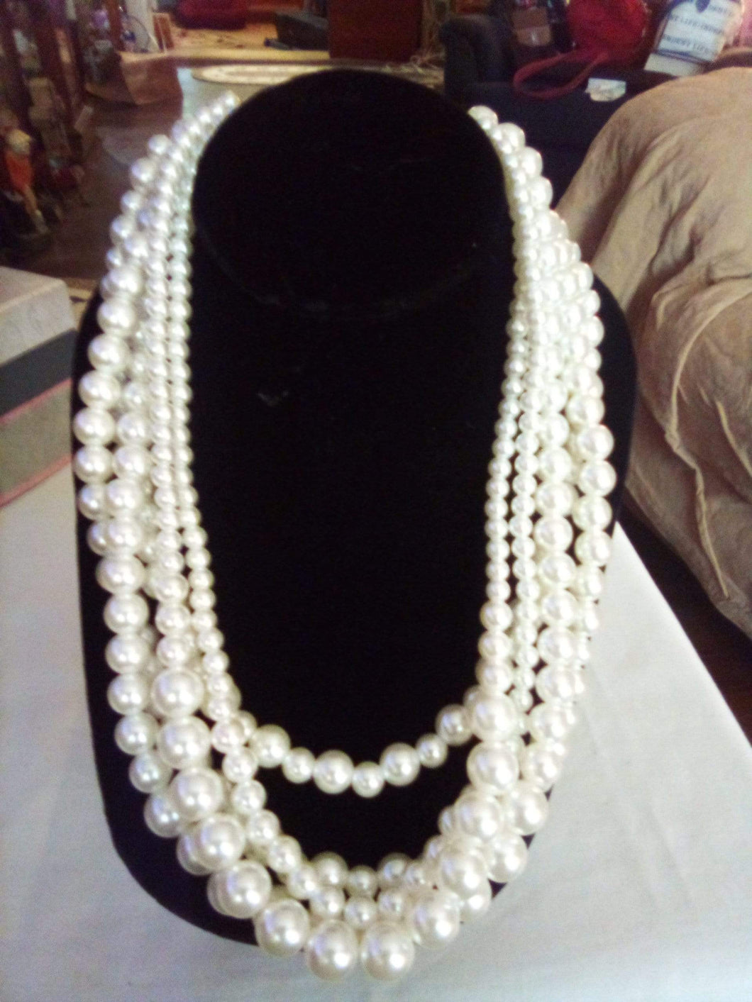 A four tier pearl like necklace - B&P'sringsnthings