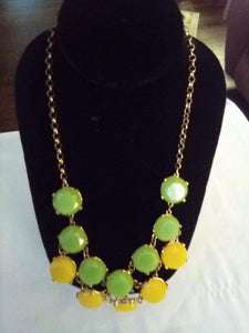 A green and yellow dressy necklace - B&P'sringsnthings