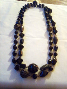 A long black beaded necklace - B&P'sringsnthings