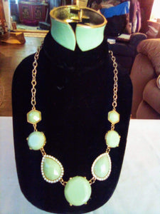 A mint green necklace and bracelet. - B&P'sringsnthings