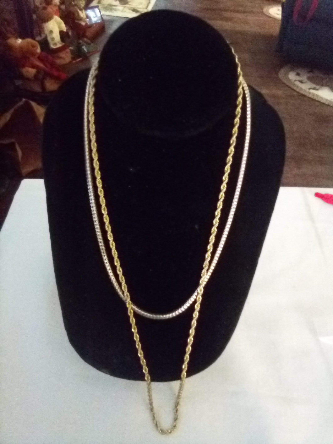 A pair of silver and gold tone chain like necklaces - B&P'sringsnthings