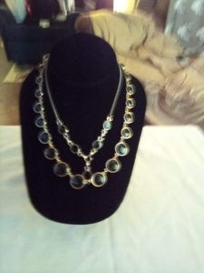 A pair of vintage necklaces with black decor - B&P'sringsnthings