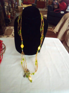 A yellow and green 3 tier necklace - B&P'sringsnthings