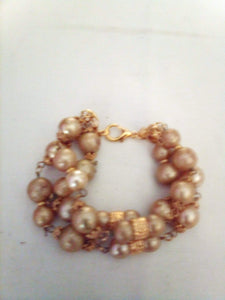 Beautiful 3 tier gold beaded dressy bracelet - B&P'sringsnthings