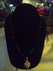 Black small beaded necklace with pendent - B&P'sringsnthings