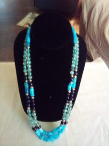 Blue and black dressy necklace - B&P'sringsnthings