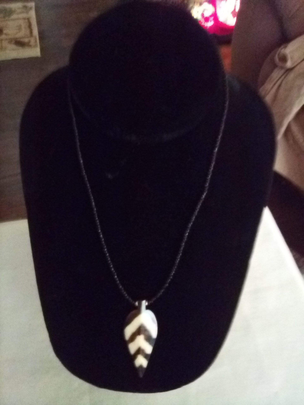 Casual black tiny beaded necklace with pendent - B&P'sringsnthings