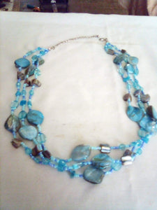 Dressy blue 3 tier necklace - B&P'sringsnthings
