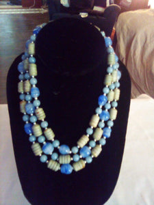 Dressy blue and cream colored dressy necklace - B&P'sringsnthings