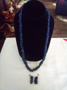 Dressy dark blue necklace and pierced earring set - B&P'sringsnthings