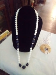 Dressy long black and white necklace - B&P'sringsnthings