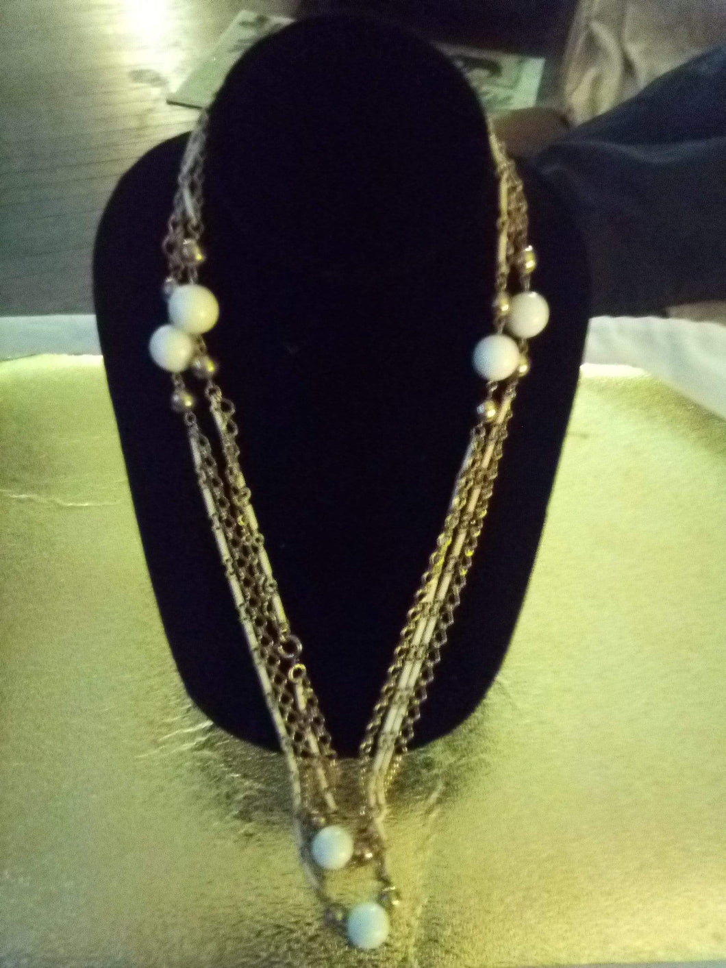 Dressy long white beaded chained necklace - B&P'sringsnthings