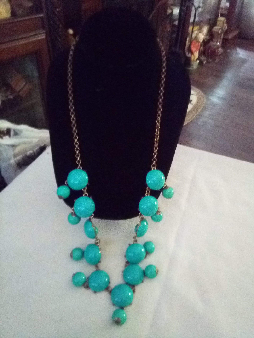 Dressy turquoise long necklace - B&P'sringsnthings