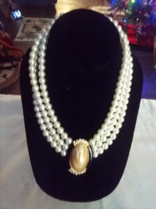 Elegant 3 tier pearl like beaded necklace with pendent - B&P'sringsnthings