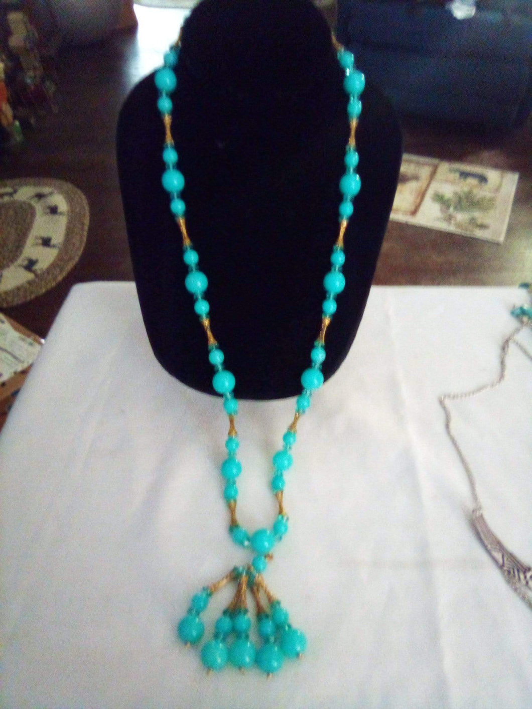 Light blue beaded necklace - B&P'sringsnthings