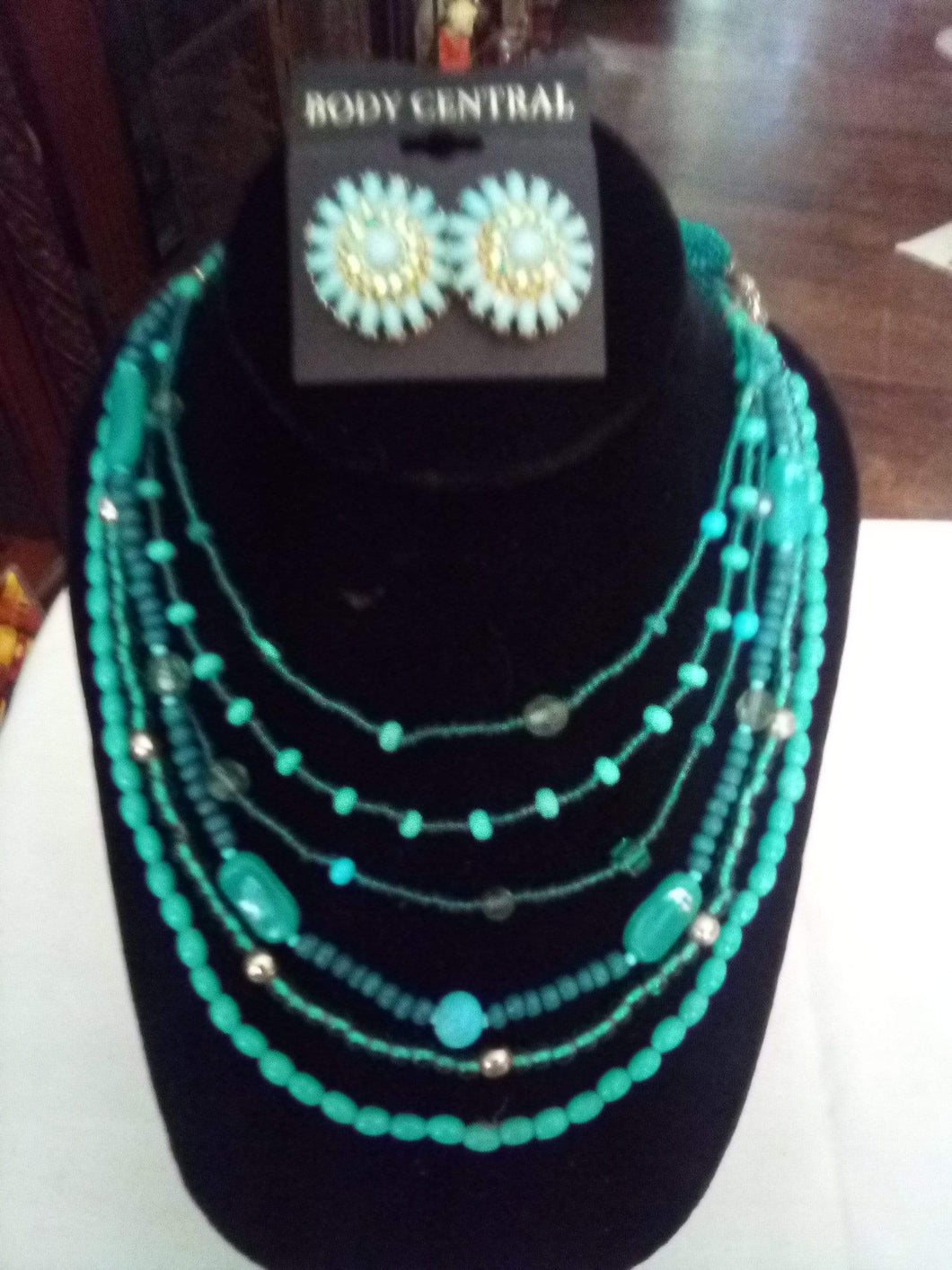 Light blue multi tier dressy necklace with pair pierced earringss - B&P'sringsnthings