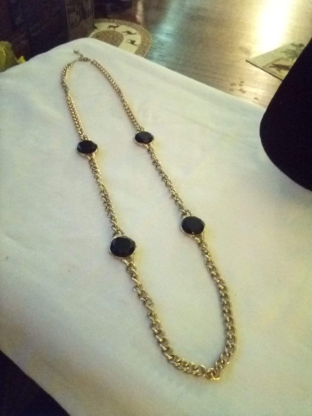 Long silver tone necklace with black stone dividers - B&P'sringsnthings