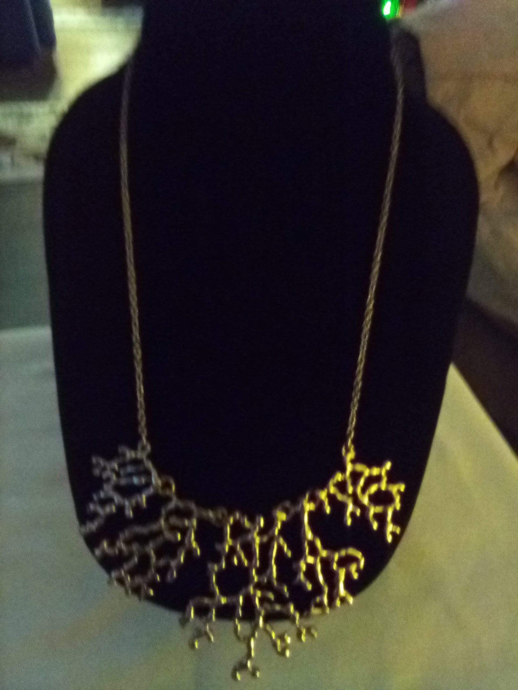 Neat gold tone necklace with attached decor - B&P'sringsnthings