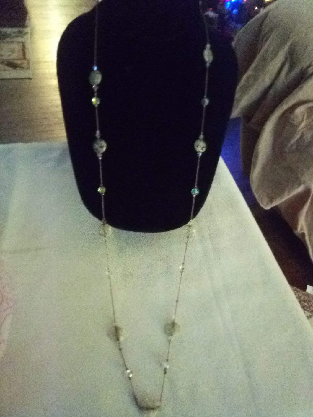 Neat long necklace with added crystals - B&P'sringsnthings