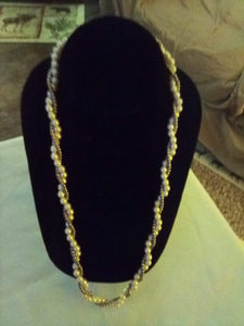 Neat pearl like necklace with gold beads wrapped in - B&P'sringsnthings