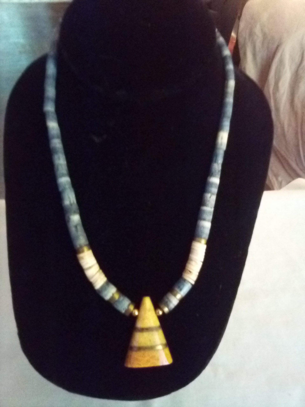 Neat shell/beaded necklace with pendent - B&P'sringsnthings