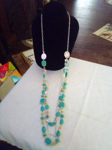 Neat silver tone light blue necklace - B&P'sringsnthings
