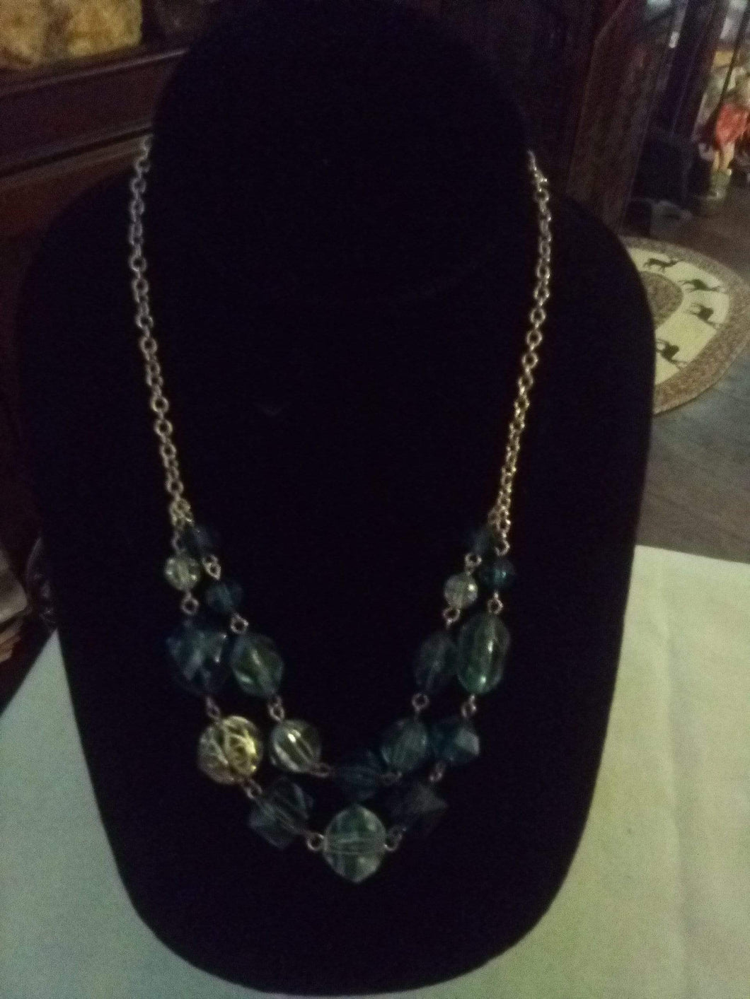 Pretty light blue crystal beaded necklace - B&P'sringsnthings