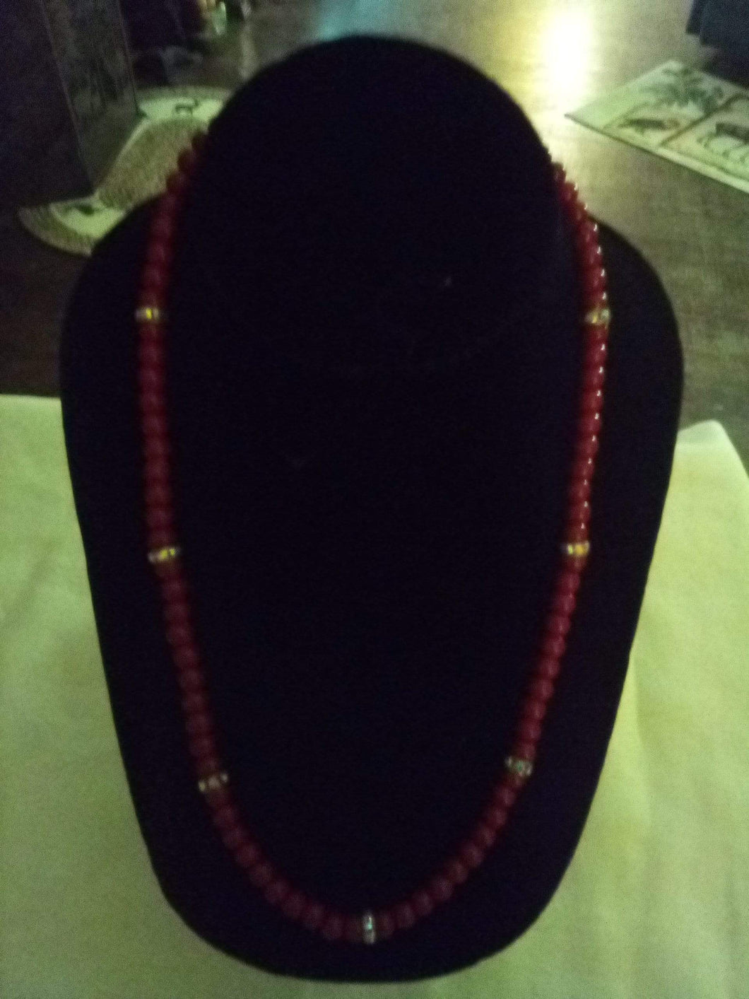 Red beaded necklace with shiny dividers - B&P'sringsnthings
