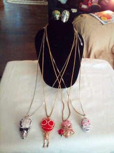 Skull necklace and earring lot - B&P'sringsnthings