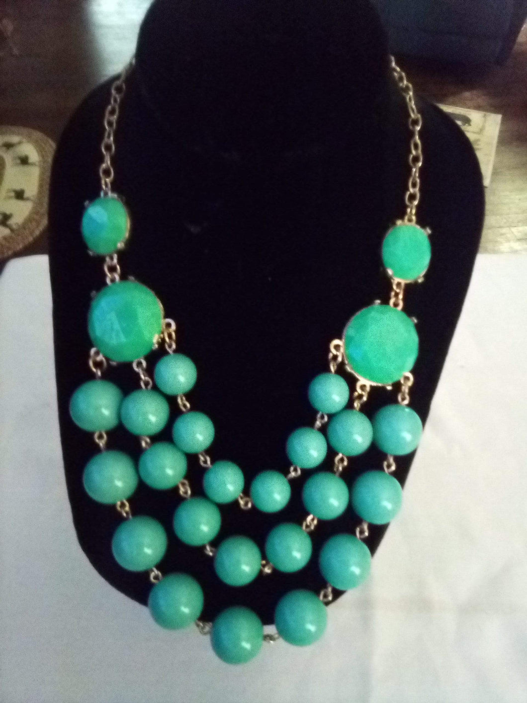 Stunning elegant light blue dressy necklace - B&P'sringsnthings