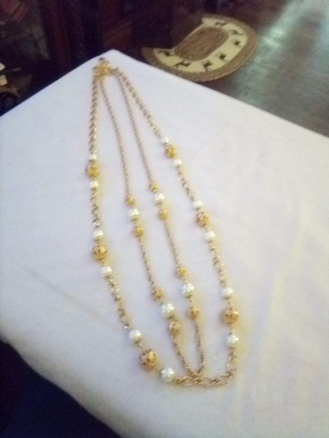 Talbot marked beautiful gold tone pearl like long necklace - B&P'sringsnthings