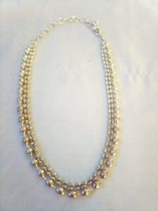 Triple tier silver tone necklace - B&P'sringsnthings