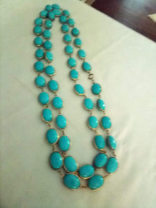 Turquoise beaded long necklace - B&P'sringsnthings
