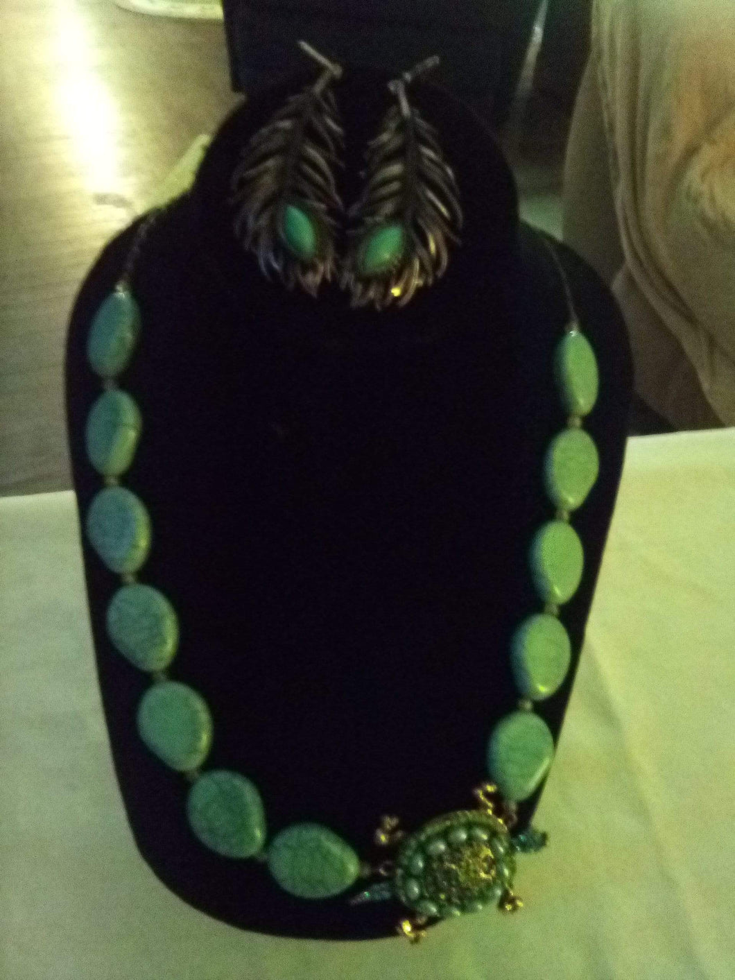 Turquoise necklace with earrings - B&P'sringsnthings