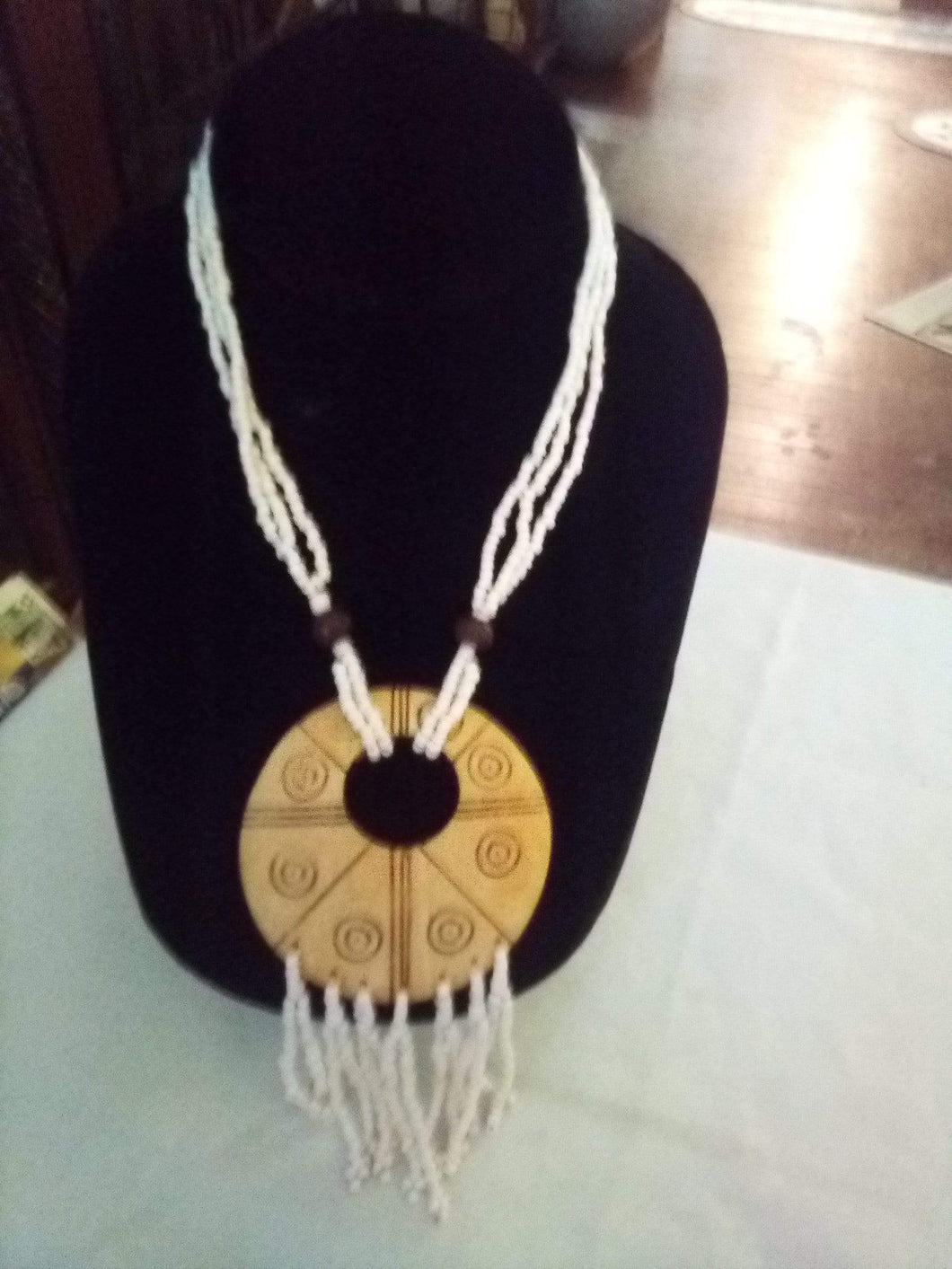 Unique tiny beaded necklace with wood pendent - B&P'sringsnthings