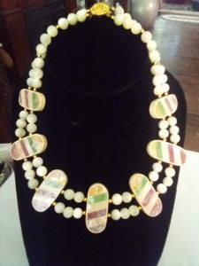 Unusual white small beaded necklace - B&P'sringsnthings