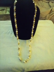 White, gold and crystal dressy necklace - B&P'sringsnthings