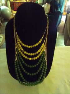 Yellow and green beaded Necklace - B&P'sringsnthings