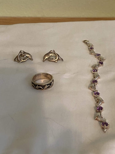 Dolphin ring, earring, and bracelet set - B&P'sringsnthings
