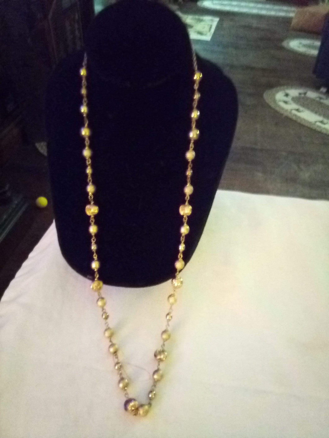 Gorgeous gold beaded long necklace - B&P'sringsnthings