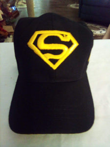Superman black hat with yellow lettering - B&P'sringsnthings