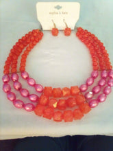 Load image into Gallery viewer, Sophia and Kate colorful necklace with pierced earrings - B&P'sringsnthings